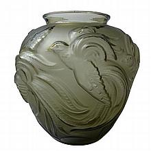 VERLYS, FRANCE LARGE FROSTED AND SMOKED GLASS VASE, CIRCA 1930 27cm high