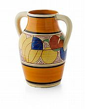 CLARICE CLIFF (1899-1972) 'MELON' ('PICASSO FRUIT') PATTERN TWIN-HANDLED 'LOTUS' JUG, CIRCA 1930 29.5cm high