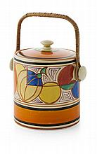 CLARICE CLIFF (1899-1972) 'MELON' ('PICASSO FRUIT') PATTERN BISCUIT BARREL & COVER, CIRCA 1930 16.5cm high