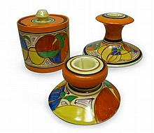 CLARICE CLIFF (1899-1972) 'MELON' ('PICASSO FRUIT') PATTERN PRESERVE JAR & COVER, CIRCA 1930