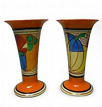 CLARICE CLIFF (1899-1972) PAIR OF 'MELON' ('PICASSO FRUIT') PATTERN FLOWER VASES, CIRCA 1930 15.5cm high