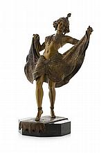 FRANZ BERGMAN (1861-1936) LARGE METAMORPHIC COLD-PAINTED EROTIC BRONZE FIGURE, CIRCA 1910 total height, 35cm