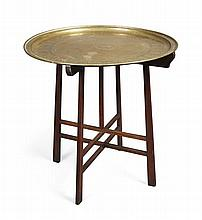 KESWICK SCHOOL OF INDUSTRIAL ART BRASS TRAY ON STAND, CIRCA 1920 63.5cm diameter, 63cm high