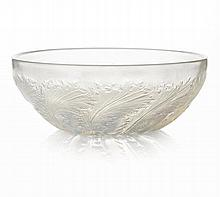 RENÉ LALIQUE (1860-1945) 'CHICORÈE', CLEAR, FROSTED AND OPALESCENT GLASS BOWL, DESIGNED 1932 24cm diameter