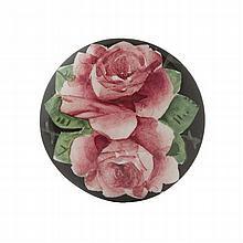 WEMYSS WARE 'CABBAGE ROSES' HAT PIN, CIRCA 1900 4.2cm diameter