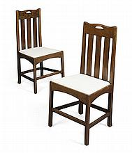 AFTER CHARLES RENNIE MACKINTOSH PAIR OF OAK SIDE CHAIRS, 1920'S 48cm wide, 99cm high, 42cm deep