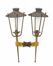 MATHIEU MATÉGOT (1910-2001) FOR ARLUS PAIR OF DOUBLE WALL LIGHTS, MODEL 1284, CIRCA 1950 45cm high, 38cm wide