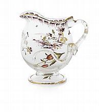 CRISTALLERIE D'ÉMILE GALLÉ CLEAR GLASS AND ENAMEL JUG, CIRCA 1890 12cm high