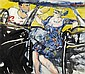 § PETER MCLAREN (SCOTTISH CONTEMPORARY) CAR COUPLE 123cm x 108cm (48.5in x 42.5in)
