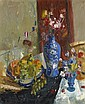 § JOHN CUNNINGHAM R.G.I (SCOTTISH 1926-1998) STILL LIFE WITH BLUE AND WHITE VASE 91cm x 76cm (36in x 30in)