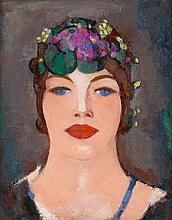 § JOHN DUNCAN FERGUSSON R.B.A. (SCOTTISH 1874-1961) MADEMOISELLE CASSAVETES 40cm x 32cm (15.75in x 12.5in)