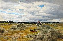 SAM BOUGH R.S.A. (SCOTTISH 1822-1878) HARVEST TIME 31cm x 46cm (12in x 18in)