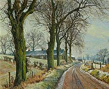 § JAMES MCINTOSH PATRICK R.S.A., R.O.I., A.R.E., L.L.D. (SCOTTISH 1907-1998) WINTER LANDSCAPE, PERTHSHIRE 51cm x 61cm (20in x 24in)
