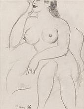 § JOHN DUNCAN FERGUSSON R.B.A. (SCOTTISH 1876-1961) SEATED NUDE 24.5cm x 19cm (9.5in x 7.5in)
