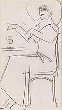 § JOHN DUNCAN FERGUSSON R.B.A. (SCOTTISH 1876-1961) CAFÉ STUDY, PARIS 20.5cm x 11.5cm (8in x 4.5cm)