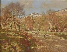 § GEORGE HOUSTON R.S.A., R.S.W., R.I. (SCOTTISH 1869-1947) SHEEP ON A COUNTRY ROAD, AUTUMN 71cm x 91cm (28in x 36in)