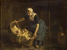 ROBERT GEMMELL HUTCHISON R.B.A., R.O.I., R.S.A., R.S.W. (SCOTTISH 1860-1936) SLEEP BABY SLEEP 46cm x 61cm (18in x 24in)