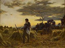 WILLIAM DARLING MCKAY R.S.A. (SCOTTISH 1844-1924) A HARVEST TWILIGHT 43.5cm x 59cm (17in x 23.25in)