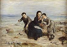 WILLIAM MCTAGGART R.S.A., R.S.W. (SCOTTISH 1835-1910) A DAY ON THE SEA SHORE 76cm x 103cm (25in x 40.5in)