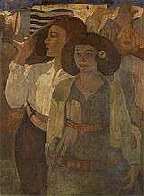 § CECILE WALTON (SCOTTISH 1891-1956) ON THE LIDO, VENICE 80cm x 59cm (31.5in x 23.25in)