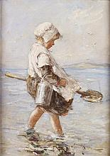 ROBERT GEMMELL HUTCHISON R.B.A., R.O.I., R.S.A., R.S.W. (SCOTTISH 1860-1936) GATHERING BAIT 46cm x 25.5cm (18in x 10in)