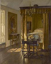 PATRICK WILLIAM ADAM R.S.A. (SCOTTISH 1854-1929) THE YELLOW BED 103cm x 82cm (40.5in x 32.25in)