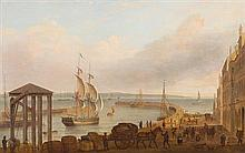 ATTRIBUTED TO DOMINIC SERRES (FRENCH 1713-1793) FIGURES AND BOATS IN LEITH HARBOUR - THE BRITISH LINEN BANK TO THE RIGHT 41cm x 61cm...