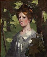 DAVID GAULD R.S.A. (SCOTTISH 1867-1936) GIRL AMONGST LEAVES 67.5cm x54.5cm (26.5 x 21.5in)