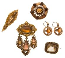 A Scottish citrine set brooch and associated earrings