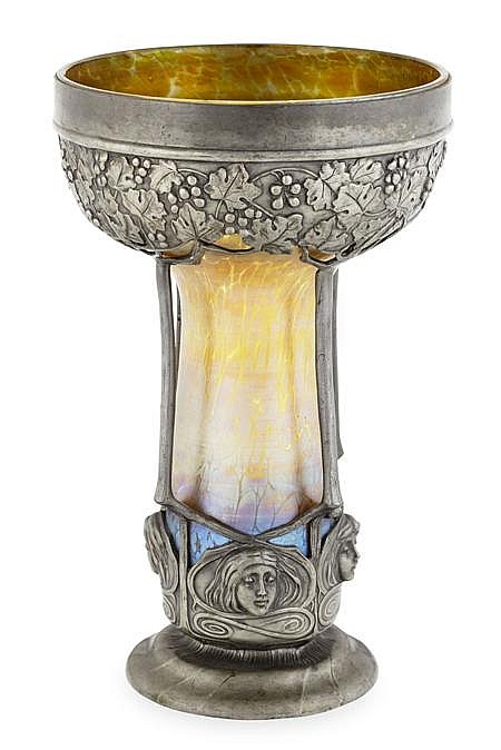 LOETZ, AUSTRIA IRIDESCENT GLASS AND PEWTER MOUNTED VASE, CIRCA 1900 20.5cm high