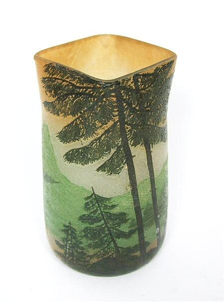 LEGRAS & CIE ETCHED AND ENAMELLED GLASS VASE, CIRCA 1910 16.5cm high