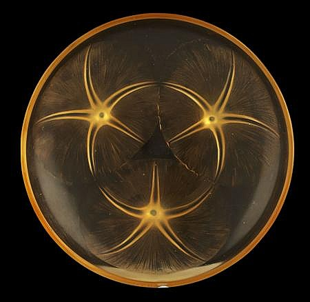 R. LALIQUE 'LYS' CLEAR, FROSTED AND AMBER TINTED SHALLOW BOWL, 21.5cm diameter