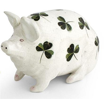 WEMYSS WARE 'SHAMROCKS' SMALL PIG FIGURE, CIRCA 1900 16cm long