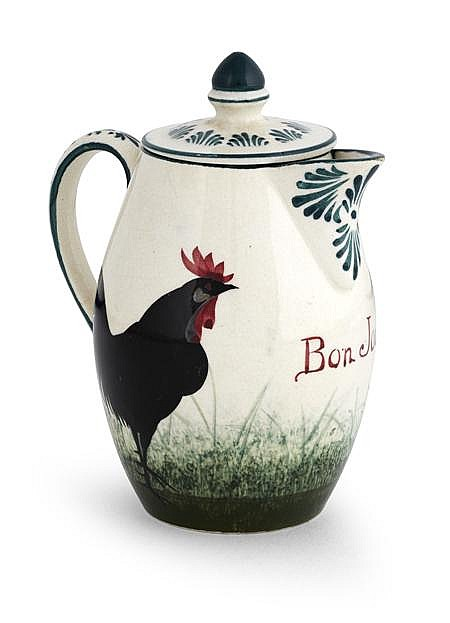 WEMYSS WARE 'BLACK COCKEREL' BON JOUR CHOCOLATE POT & COVER, CIRCA 1900 12.5cm high