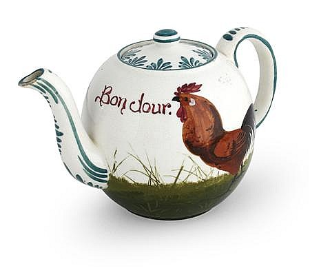 WEMYSS WARE 'BROWN COCKEREL AND HENS' TEAPOT & COVER, EARLY 20TH CENTURY 13cm high