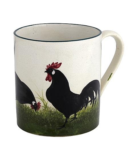 WEMYSS WARE 'BLACK COCKEREL AND HENS' SMALL MUG, EARLY 20TH CENTURY 9cm high