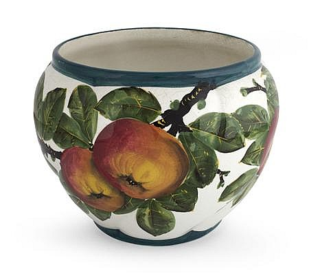 WEMYSS WARE 'APPLES' MEDIUM COMBE JARDINIERE, CIRCA 1900 17.3cm high