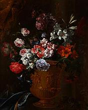 FOLLOWER OF JEAN-BAPTISTE MONNOYER (FRENCH 1636-1699) A STILL LIFE OF ASSORTED FLOWERS IN A BRONZE VASE 120cm x 98cm (47.25in x 38.5...