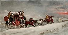 JOHN CHARLES MAGGS (BRITISH 1819-1895) WORCESTER TO LONDON COACH IN THE SNOW 36cm x 66cm (14in x 26in) and another coaching scene by...