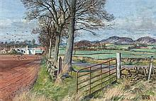 § JAMES MCINTOSH PATRICK R.S.A., R.O.I., A.R.E., L.L.D. (SCOTTISH 1907-1998) NEAR DRONLEY, ANGUS 36cm x 53.5cm (14in x 21in)