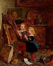 GEORGE SMITH (BRITISH 1829-1901) IN THE STUDIO 43cm x 36cm (17in x 14in)