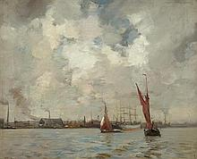 JAMES CAMPBELL NOBLE R.S.A. (SCOTTISH 1846-1913) SHIPPING OFF THE DUTCH COAST 51cm x 61cm (20in x 24in)