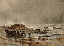 SAM BOUGH R.S.A. (SCOTTISH 1822-1878) MR AND MRS ADAMS AND FAMILY TOWING THE BOAT OUT OF MISCHIEF 23cm x 31.5cm (9in x 12.25in)