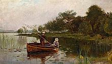 § ROBERT MACAULAY STEVENSON R.S.W. (SCOTTISH 1854-1952) ELEGANT WOMEN IN A ROWING BOAT 30.5cm x 51cm (12in x 20in)