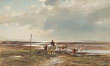 WILLIAM DARLING MCKAY R.S.A. (SCOTTISH 1844-1924) CROSSING THE ESTUARY AT LOW TIDE 22cm x 31cm (8in x 12in)