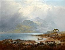 GEORGE BLACKIE STICKS (BRITISH 1843-1938) THE SILVER STRAND, LOCH KATRINE 71cm x 91cm (28in x 36in)
