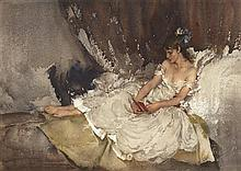§SIR WILLIAM RUSSELL FLINT P.R.A., P.R.W.S., R.S.W., R.O.I., R.E. (SCOTTISH 1880-1969) CECILIA READING POEMS 28cm x 40cm (11in x 15....