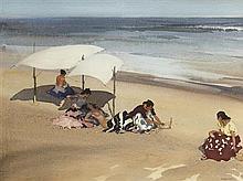 §SIR WILLIAM RUSSELL FLINT P.R.A., P.R.W.S., R.S.W., R.O.I., R.E. (SCOTTISH 1880-1969) GYPSIES ON THE BEACH AT ZARAUZ 39cm x 52cm (1...