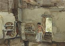 §SIR WILLIAM RUSSELL FLINT P.R.A., P.R.W.S., R.S.W., R.O.I., R.E. (SCOTTISH 1880-1969) MATHILDA'S KITCHEN 35cm x 49cm (14in x 19in)
