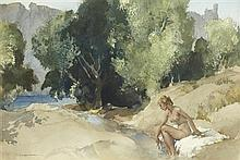 §SIR WILLIAM RUSSELL FLINT P.R.A., P.R.W.S., R.S.W., R.O.I., R.E. (SCOTTISH 1880-1969) PRISCILLA BY THE ARDÈCHE 37cm x 55cm (14.5in...